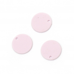 Acrylic coin pendant for jewelry making 15x1 mm hole 1 mm color pastel pale purple - 10 pieces
