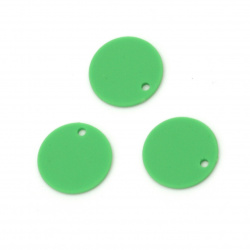 Acrylic coin pendant for jewelry making 15x1 mm hole 1 mm color pastel green - 10 pieces
