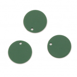 Acrylic coin pendant for jewelry making 15x1 mm hole 1 mm color pastel dark green - 10 pieces