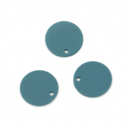 Acrylic coin pendant for jewelry making 15x1 mm hole 1 mm color pastel dark blue - 10 pieces