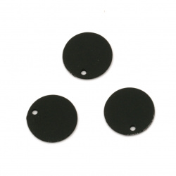 Acrylic coin pendant for jewelry making 15x1 mm hole 1 mm color pastel black - 10 pieces