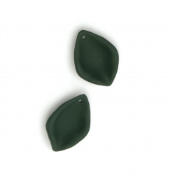 Acrylic leaf pendant for jewelry making 27x18.5x5 mm hole 1.5 mm color pastel dark green - 5 pieces