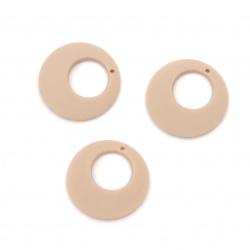 Pandantiv cerc acrilic pentru realizarea de bijuterii 25x4 mm gaura 1 mm pastel cappuccino culoare - 5 buc