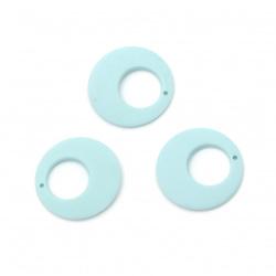 Pandantiv cerc acrilic pentru realizarea bijuteriilor 25x4 mm gaura 1 mm culoare pastel albastru deschis - 5 buc