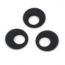 Висулка пастел кръг 25x4 мм дупка 1 мм цвят син тъмен -5 броя