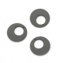 Κρεμαστό παστέλ στρογγυλό25x4 mm τρύπα 1 mm χρώμα γκρι -5 τεμάχια