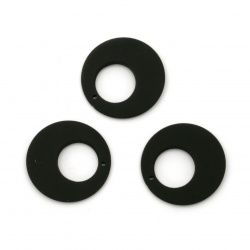 Acrylic circle pendant  for jewelry making 25x4 mm hole 1 mm color pastel black - 5 pieces