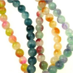 Gemstone Beads Strand, Jadeite, Round, Mixed color, 6mm, ~64 pcs
