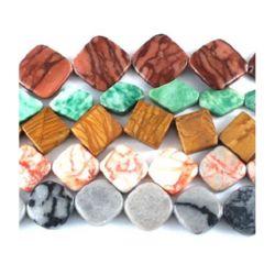 Наниз мъниста полускъпоценен камък АСОРТЕ 15~40x10~35x4~7 мм ~40 см