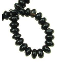 Șireturi mărgele de piatră semiprețioasă AGAT șaibă neagră 6x10 mm ~ 70 bucăți