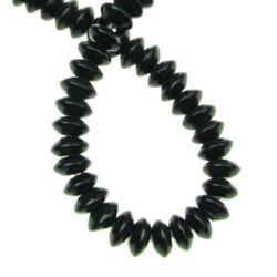 Șir de  mărgele de piatră semi-prețioasă ahat șaibă neagră 4x8 mm ~ 105 bucăți
