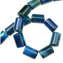 AGATE Dyed Cylinder Beads Strand Blue 13x18 mm, ~22 pcs