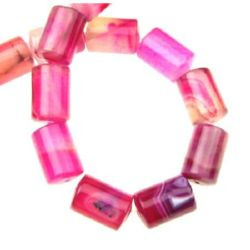 AGATE Dyed Cylinder Beads Strand Pink 13x18 mm ~ 22 pcs