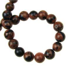 Perle de coarde Piatră semiprețioasă piatra soarelui bile maron și albastru 8mm ~ 48 buc