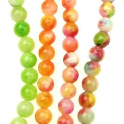 Gemstone Beads Strand, Jade, Round, Mixed color, 6mm, ~64 pcs