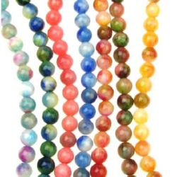 Gemstone Beads Strand, Jade, Round, Mixed color, 10mm, ~38 pcs