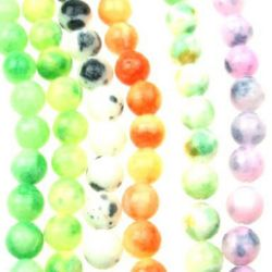 Gemstone Beads Strand, Jade, Round, Mixed color, 12mm, ~32 pcs