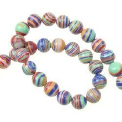 Gemstone Beads Strand, Synthetic Malachite, Round, Pink Mixed, 8mm, 48 pcs