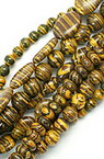 Gemstone Beads Strand, Synthetic Malachite, Mixed, Black and Yellow, 6.5~14x6.5~18x5~8mm
