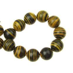 Наниз мъниста полускъпоценен камък МАЛАХИТ СИНТЕТИЧЕН жълто- черен топче 12 мм ~28 броя