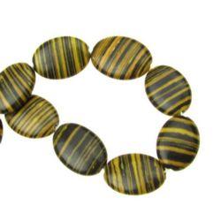 Gemstone Beads Strand, Synthetic Malachite, Flat Round, Black and Yellow, 18x13x4mm, 22 pcs