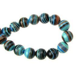 Наниз мъниста полускъпоценен камък МАЛАХИТ СИНТЕТИЧЕН синьо- черен МИКС топче 8 мм ~48 броя