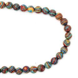 Наниз мъниста полускъпоценен камък МАЛАХИТ СИНТЕТИЧЕН син топче 8 мм ~51 броя