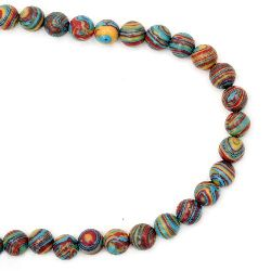 Gemstone Beads Strand, Synthetic Malachite, Round, Blue, 8mm, 51 pcs