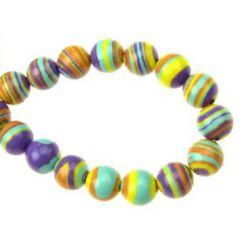 Наниз мъниста полускъпоценен камък МАЛАХИТ СИНТЕТИЧЕН топче 8 мм ~51 броя