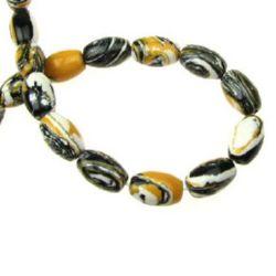 Gemstone Beads Strand, Synthetic Malachite, Oval, 11x8mm, 34 pcs