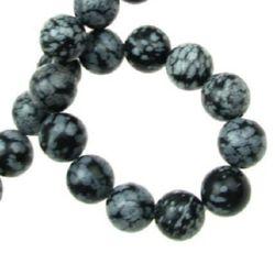 Наниз мъниста полускъпоценен камък ОБСИДИАН СНЕЖИНКА клас А топче 12 мм ~33 броя