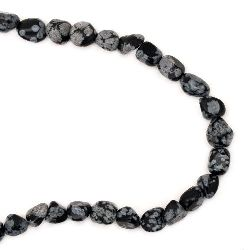 Gemstone Beads Strand, Natural Obsidian Snowflake, 5~7x5~7mm, 55 pcs
