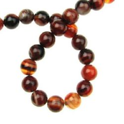 Natural Striped AGATE Round Beads Strand Brown 8 mm ~ 48 pcs