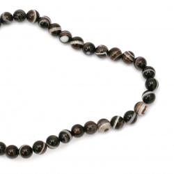 Mărgele cu șnur Agat de piatră semiprețioasă în dungi Maronie perlată întunecată 10mm ~ 38 bucăți