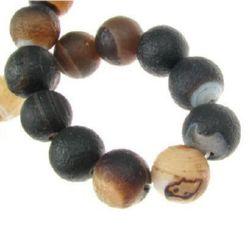 Șireturi mărgele din piatră semiprețioasă AGAT cu dungi brune de 14 mm ~ 28 bucăți