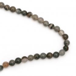 Наниз мъниста полускъпоценен камък АХАТ сиво-кафяв тъмен топче 12 мм ±32 броя