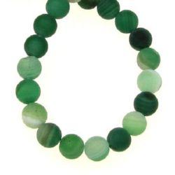 Margele de sfoară piatră semiprețioasă AGAT bila verde cu dungi mate 6 mm ~ 64 bucăți
