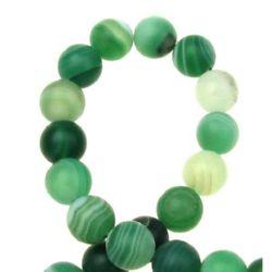 Șirag de mărgele din piatră semiprețioasă AGAT cu dungi de culoare verde deschisă mată de 8 mm ~ 48 bucăți
