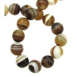 Șir de mărgele din piatră semiprețioasă  AGAT  bilă maron cu dungi mat 12 mm ~ 33 bucăți