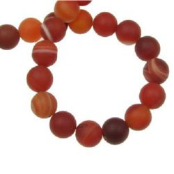 Natural Striped Agate  Beads Strand, Round, Frosted, Dyed, Orange  8mm ~ 47 pcs