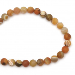 Natural Striped Agate  Beads Strand, Round, Frosted, Dyed, orange ball matte 12 mm ± 32 pieces