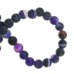 Margele de sfoară piatră semiprețioasă AGAT cu dungi violet mat 6 mm ~ 64 bucăți