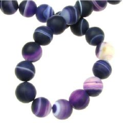 Natural Striped Agate  Beads Strand, Round, Frosted, Dyed, purple ball matte 8 mm ~ 47 pieces