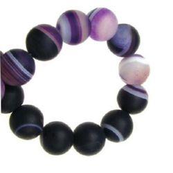 Mărgele cu coarde din piatră semiprețioasă AGAT cu dungi mov violet mat 10 mm ~ 37 bucăți