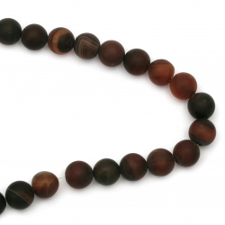 Natural Striped Agate  Beads Strand, Round, Frosted, Dyed, Brown Dark Bead Matte 14mm ~ 28 Pieces