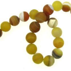 Margele de sfoară piatră semiprețioasă AGAT bilă galbenă dungată mată 10 mm ~ 37 bucăți