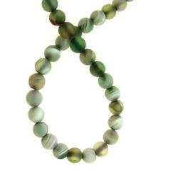 Наниз мъниста полускъпоценен камък АХАТ ивичест зелен светъл топче матирано 6 мм ±64 броя