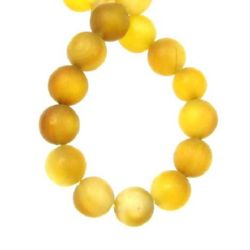 Наниз мъниста полускъпоценен камък АХАТ жълто-кафяв топче матирано 8 мм ±49 броя