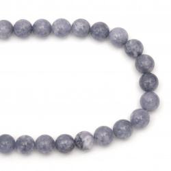 Наниз мъниста полускъпоценен камък АКВАМАРИН топче 12 мм ~32 броя