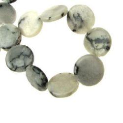 Mărgele cu șnur din piatră semi-prețioasă monedă gri JASP 19x4,5 mm ~ 21 buc